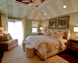 bedroom, green color